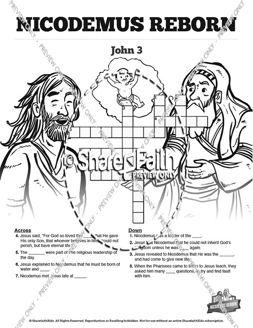 John 3 Nicodemus Bible Sunday School Crossword Puzzles
