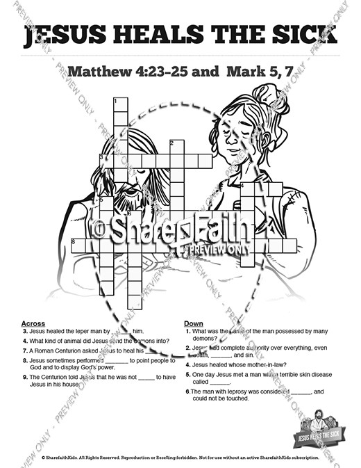 Jesus Heals The Sick Sunday School Crossword Puzzles