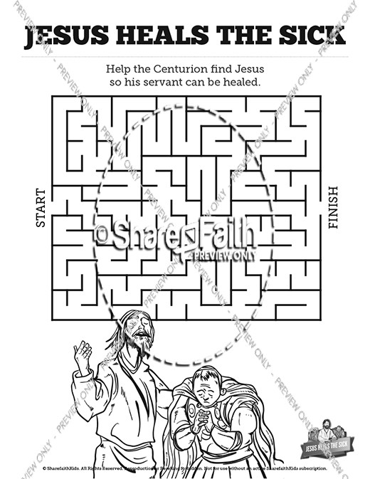 Jesus Heals The Sick Bible Mazes