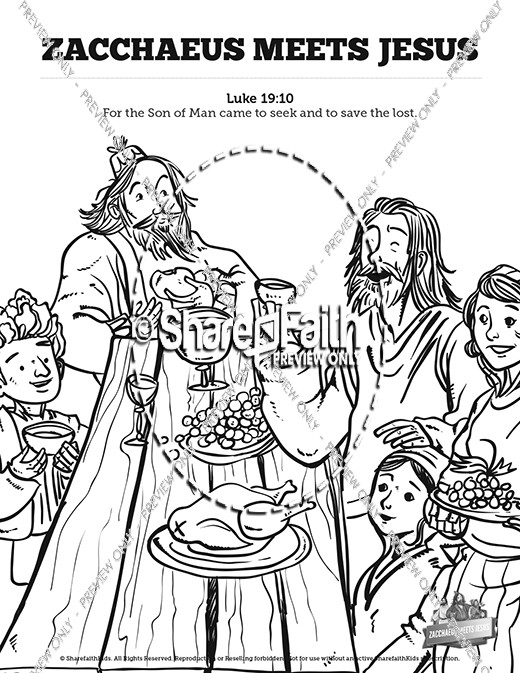 Luke 19 Story Of Zacchaeus Sunday School Coloring Pages