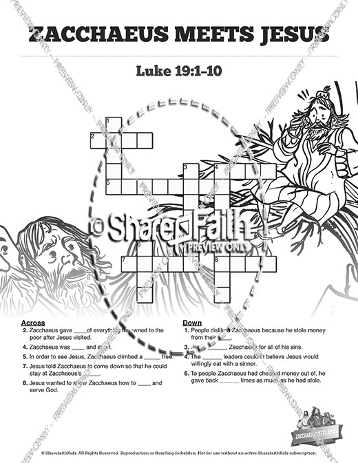 Luke 19 Story of Zacchaeus Sunday School Crossword Puzzles