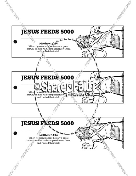 Jesus Feeds 5000 Bible Bookmarks
