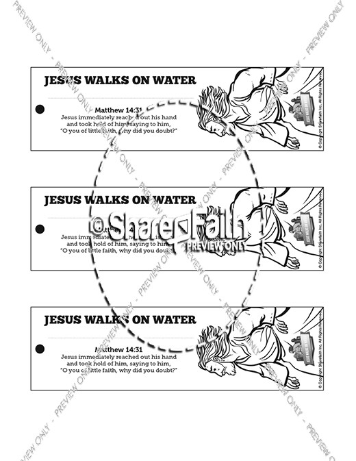Jesus Walks On Water Bible Bookmarks