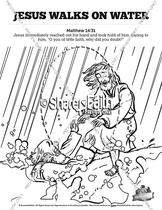 Jesus Walks On Water Coloring Sheet