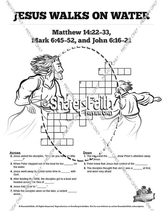 Jesus Walks On Water Sunday School Crossword Puzzles