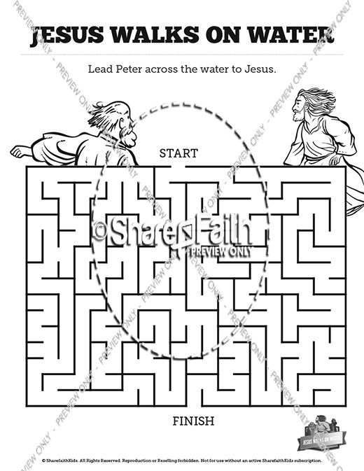 Jesus Walks On Water Bible Mazes