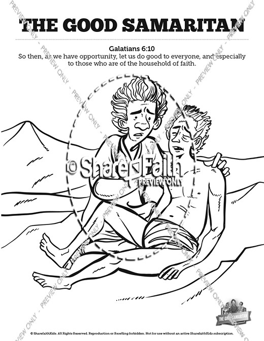 The Good Samaritan Sunday School Coloring Pages