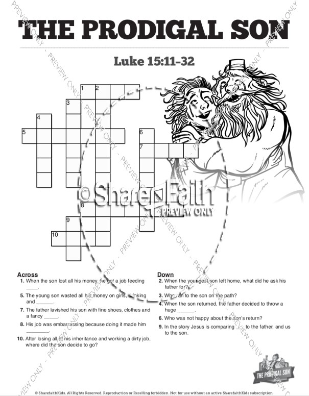 The Prodigal Son Sunday School Crossword Puzzles