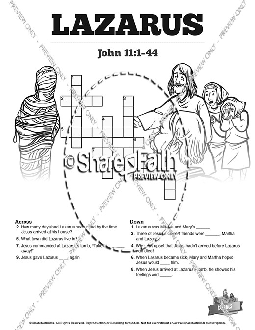 John 11 Lazarus Sunday School Crossword Puzzles