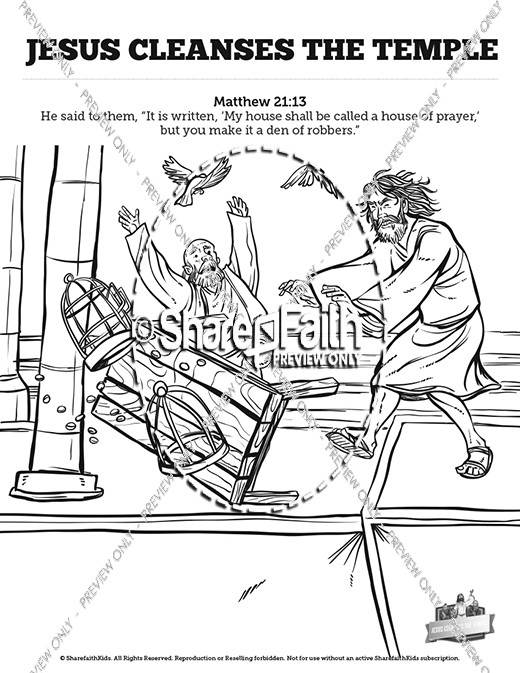 Matthew 21 Cleanses The Temple Sunday Coloring Pages