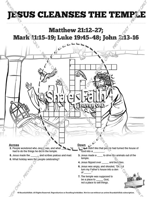 Matthew 21 Jesus Cleanses the Temple Sunday School Crossword Puzzles