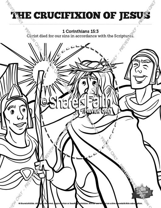 Jesus' Crucifixion Sunday School Coloring Pages