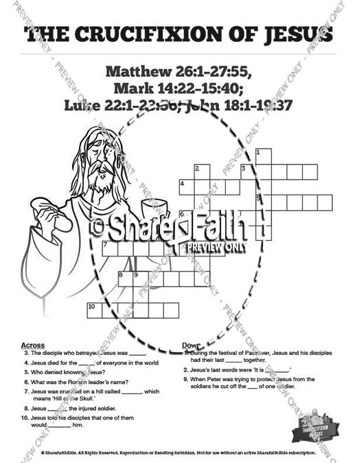 Jesus Crucifixion Sunday School Crossword Puzzles