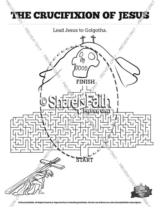 Jesus' Crucifixion Bible Mazes