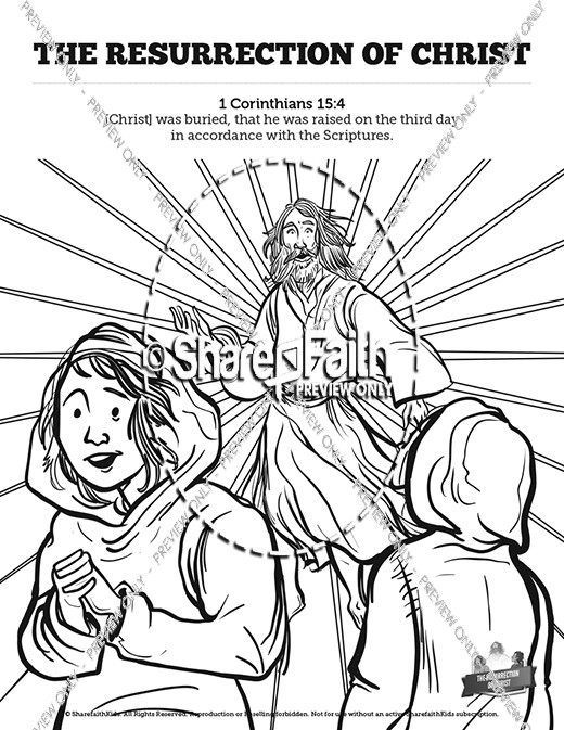 Jesus' Resurrection Sunday School Coloring Pages