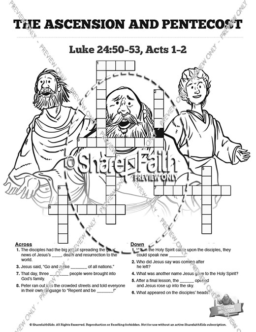 The Ascension and Pentecost Sunday School Crossword Puzzles