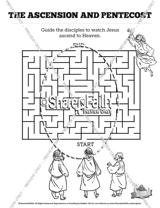 The Ascension and Pentecost Bible Mazes