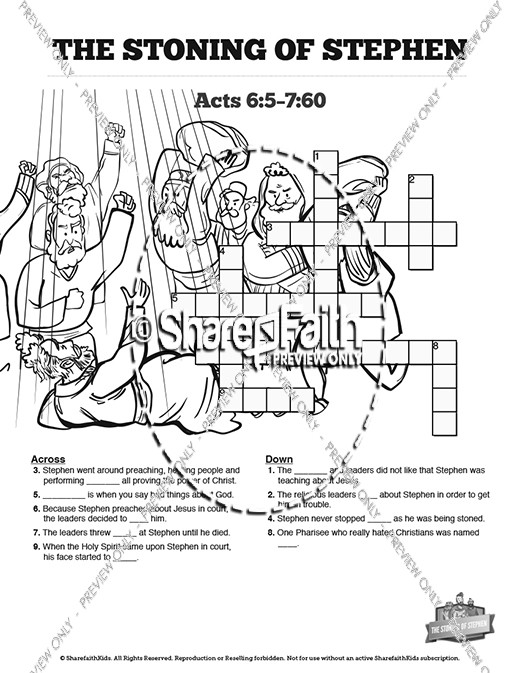 acts 7 the stoning of stephen sunday school crossword puzzles