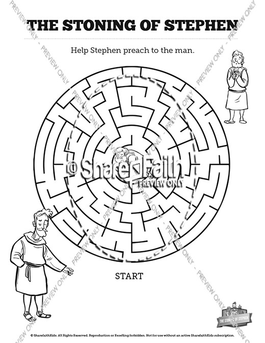 Acts 7 The Stoning of Stephen Bible Mazes