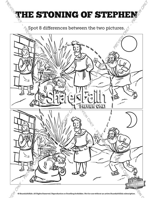 acts 7 the stoning of stephen kids spot the difference