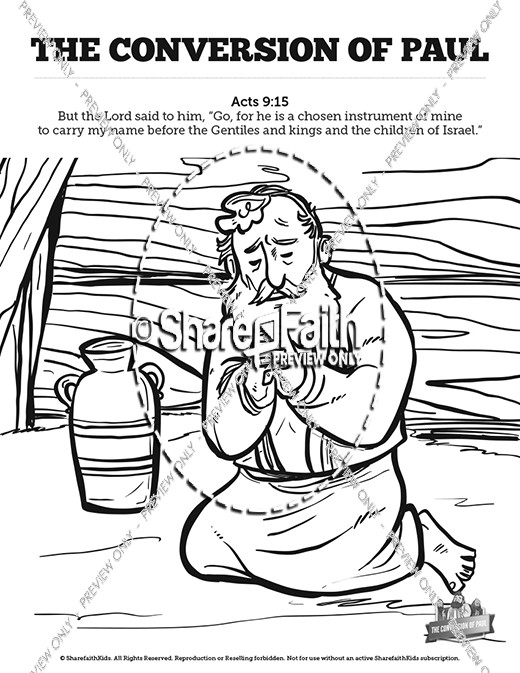 Acts 9 Paul's Conversion Sunday School Coloring Pages