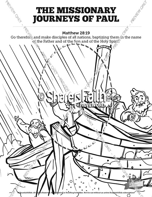 Pauls Missionary Journeys Sunday School Coloring Pages Sunday