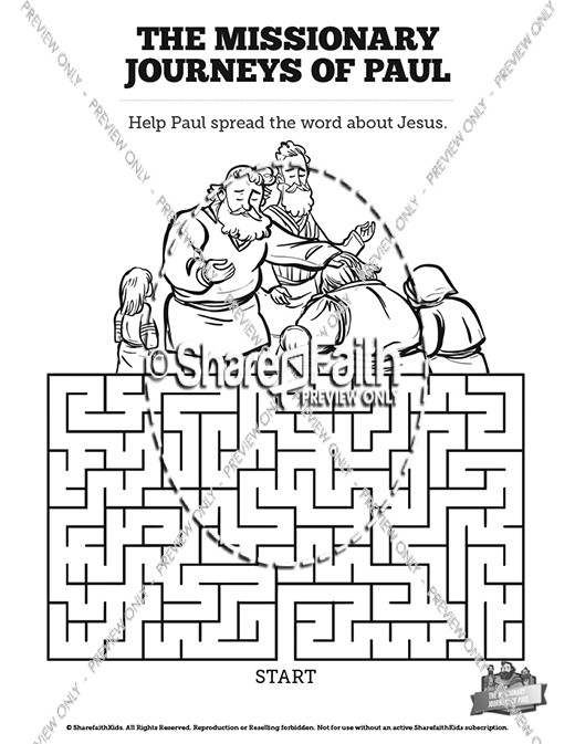 The Missionary Journeys of Paul Bible Mazes