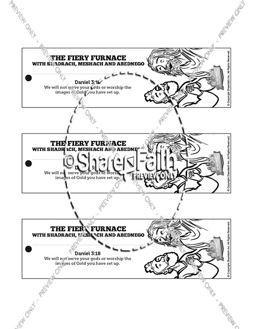 The Fiery Furnace with Shadrach, Meshach and Abednego Bible Bookmarks