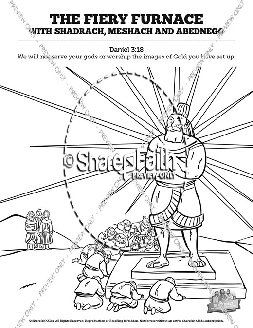 The Fiery Furnace with Shadrach, Meshach and Abednego Sunday School Coloring Pages