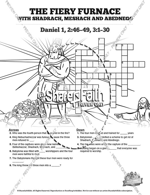 The Fiery Furnace with Shadrach, Meshach and Abednego Sunday School Crossword Puzzles