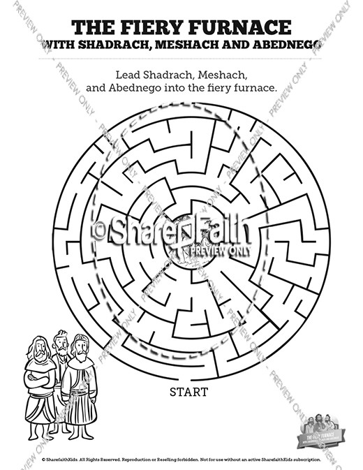 The Fiery Furnace with Shadrach, Meshach and Abednego Bible Mazes