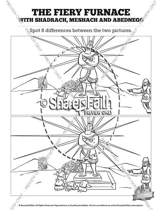 The Fiery Furnace with Shadrach, Meshach and Abednego Kids Spot The Difference