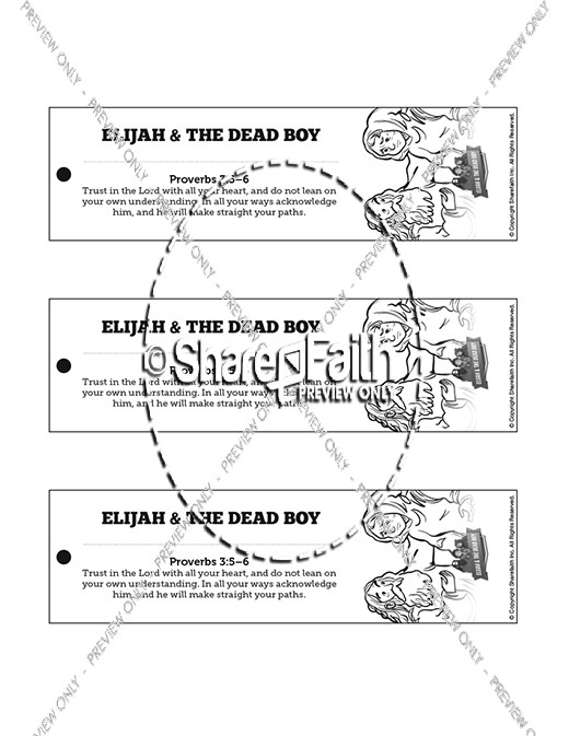 1 Kings 17 Elijah and the Widow Bible Bookmarks