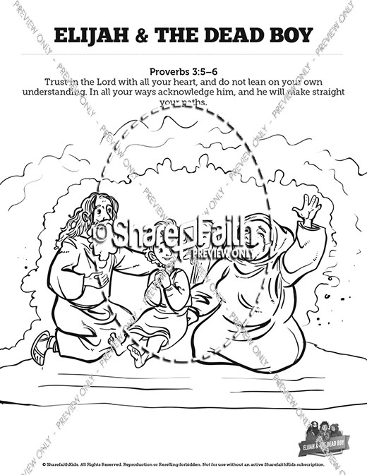 1 Kings 17 Elijah And The Widow Sunday School Coloring Pages