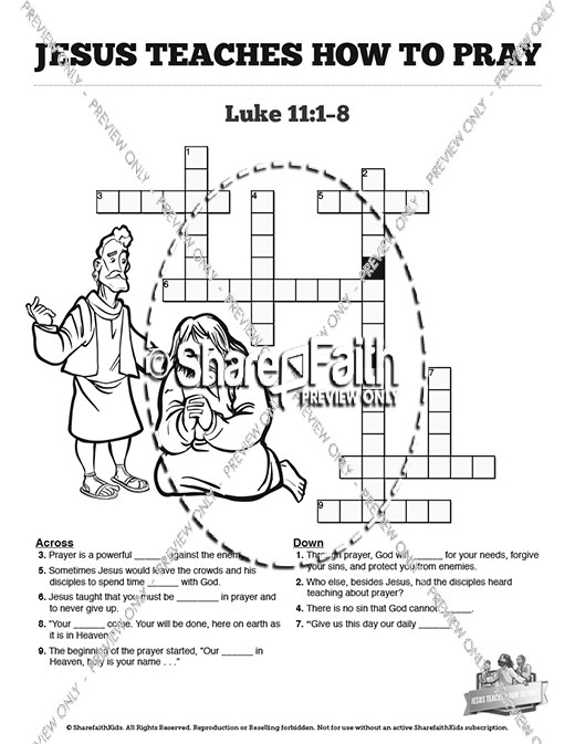 The Lord's Prayer Sunday School Crossword Puzzles
