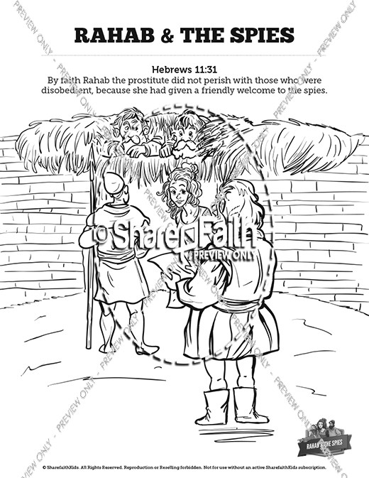 Joshua 2 The Story of Rahab Sunday School Coloring Pages