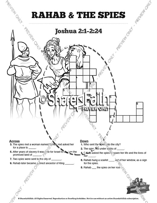 Joshua 2 The Story of Rahab Sunday School Crossword Puzzles