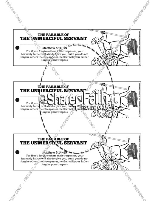 Matthew 18 The Parable of the Unforgiving Servant Bible Bookmarks