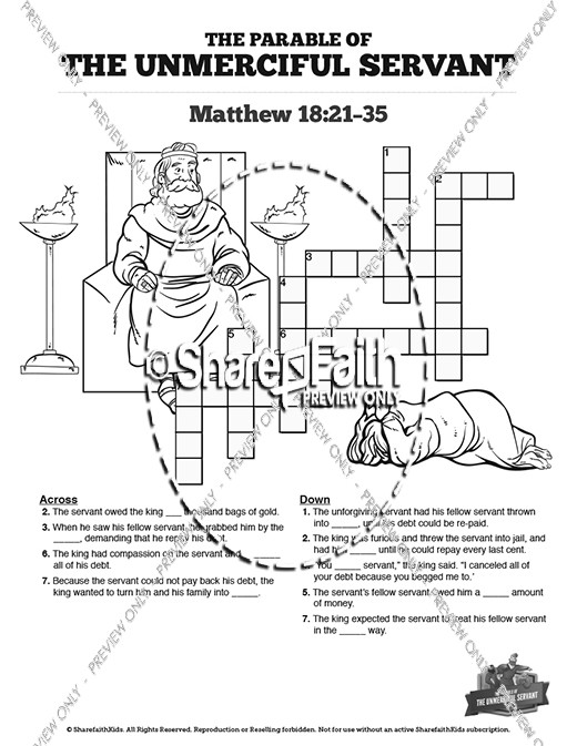 Matthew 18 The Parable of the Unforgiving Servant Sunday School Crossword Puzzles