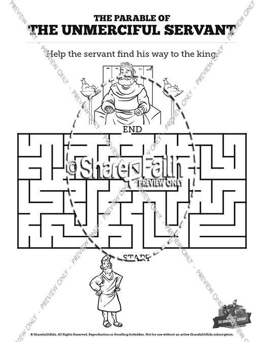 Matthew 18 The Parable of the Unforgiving Servant Bible Mazes