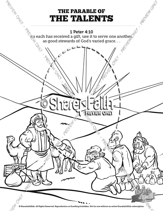 The Parable Of Talents Sunday School Coloring Pages