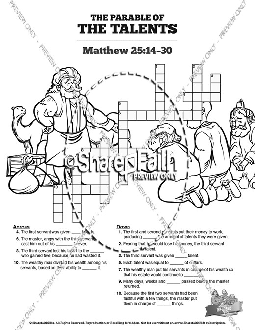 The Parable Of Talents Sunday School Crossword Puzzles