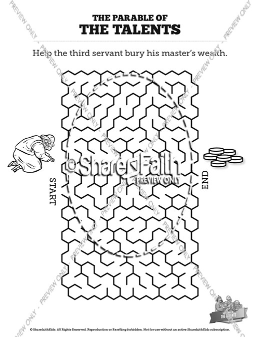 The Parable of the Talents Bible Mazes
