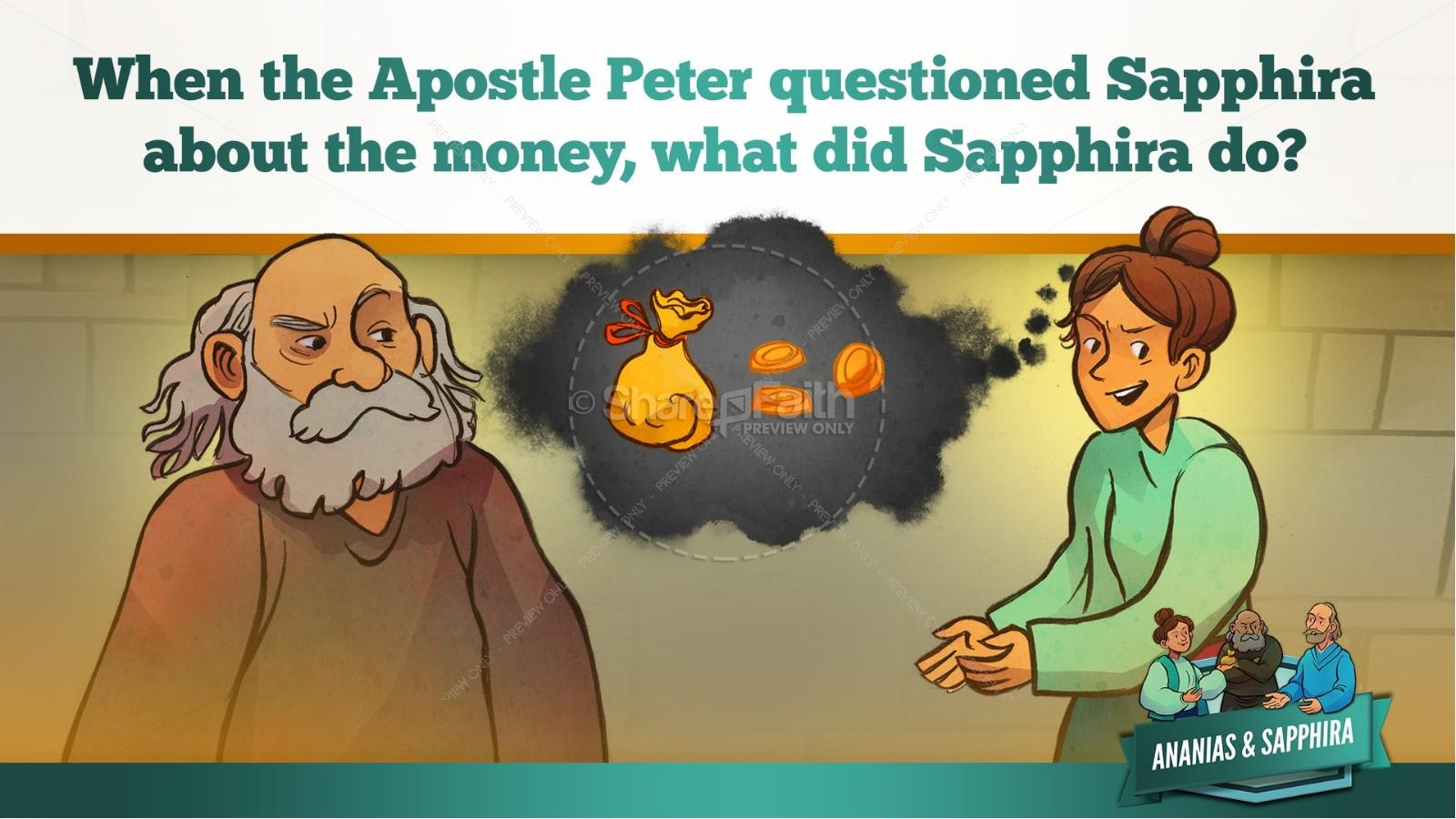 Acts 5 Ananias and Sapphira Kids Bible Stories | slide 33