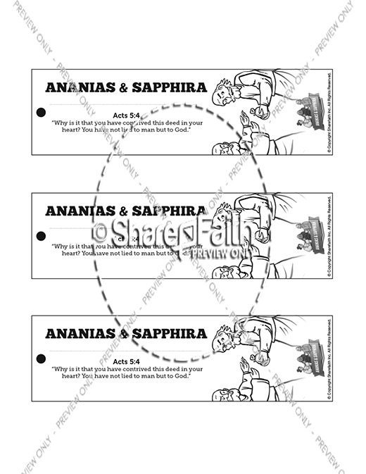 Acts 5 Ananias and Sapphira Bible Bookmarks