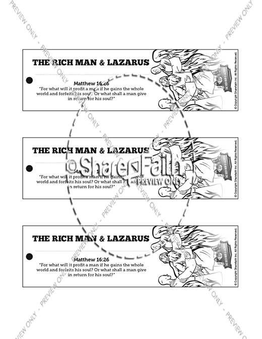 Luke 16 Lazarus and the Rich Man Bible Bookmarks