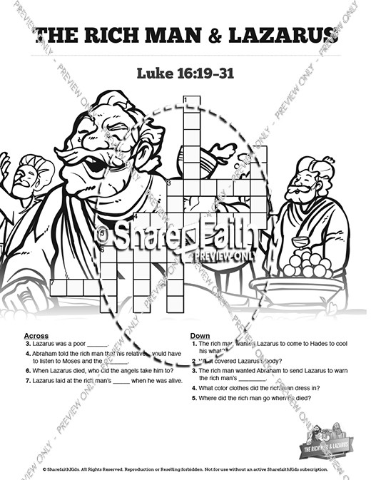 Luke 16 Lazarus and the Rich Man Sunday School Crossword Puzzles