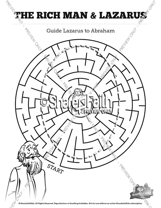 Luke 16 Lazarus and the Rich Man Bible Mazes