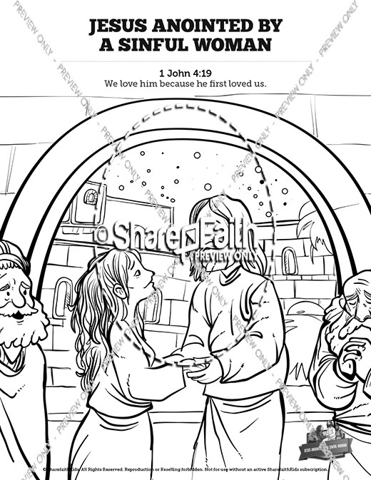 Luke 7 Woman Washes Jesus Feet Sunday School Coloring Pages