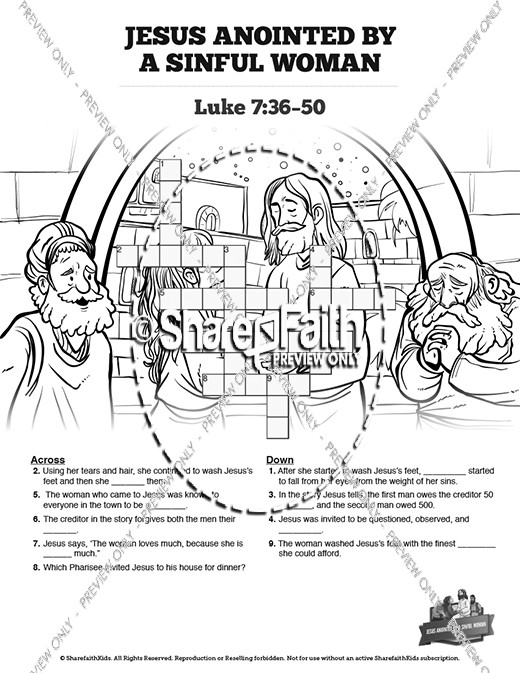 Luke 7 Woman Washes Jesus Feet Sunday School Crossword Puzzles